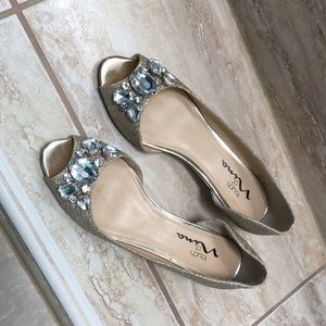 Nina gold glitter shoes with bling